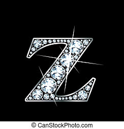 "A stunningly beautiful ""Z"" set in diamonds and silver."