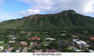 Diamondhead Mountain Land Mass Crater Oahu Hawaii - Aerial...