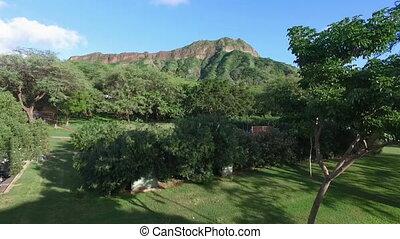 Diamondhead Mountain Land Mass Crater Oahu Hawaii - Aerial...