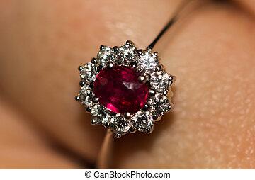 diamonds-2, ring, rubin