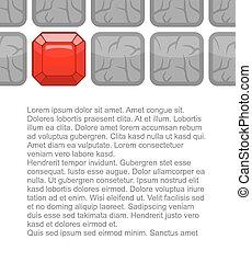 Diamonds among gray stones. Ruby in soil. Background for presentations. Vector illustration. Red gem