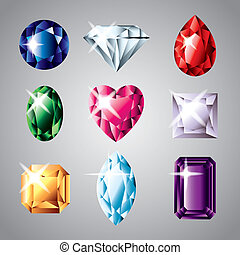 diamonds and gemstones vector set - precious diamonds and...