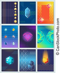 Diamonds and Stones Collection Vector Illustration