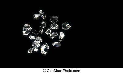 Diamonds beautiful background. looped 3d