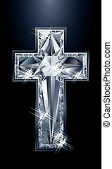 Diamonds brilliant christian cross, vector illustration