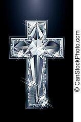 Diamonds brilliant christian cross, vector illustration