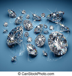 Diamonds - Brilliant diamonds on blue background