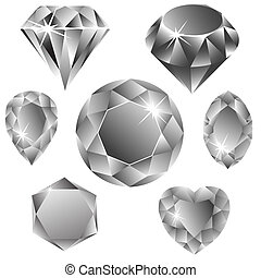 diamonds collection against white background, abstract ...