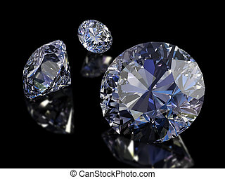 Diamonds - Some perfect diamonds isolated on black...