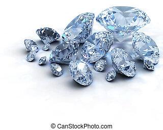 Diamonds - Lots of diamonds on white background - 3d render