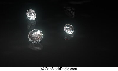 Looping animation of diamonds dropping delicately onto a black shiny surface and rolling towards the camera.