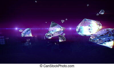 Glamour falling diamonds in animation 3D. Diamonds bouncing on the ground. On the horizon we see flashes of lights.