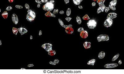 Diamonds Falling Loop Background Full HD