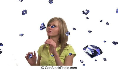 Diamonds Falling - Woman Tyring to Catch 3D Diamonds as they...