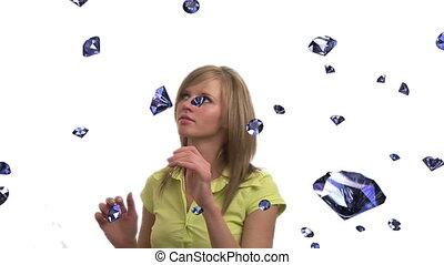 Diamonds Falling - Woman Tyring to Catch 3D Diamonds as they...