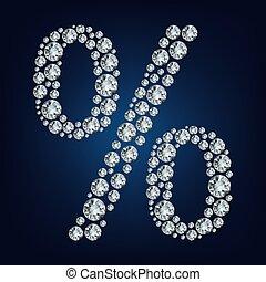 diamonds., fatto, percento