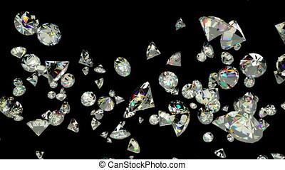 Diamonds flying in slow motion against black