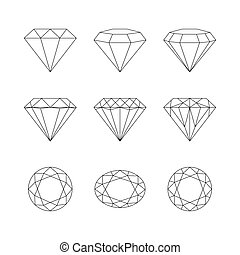 Diamonds, gemstones faceting vector patterns on a white background.