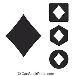Diamonds icon set, monochrome