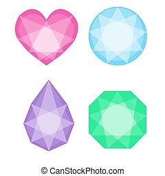 Diamonds icons set in different colors