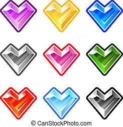 Diamonds in heart shape