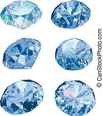 Diamonds isolated on white backgrou - Set of six diamonds...