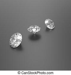Diamonds on a black background. 3D illustration
