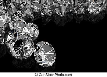 diamonds on black surface background
