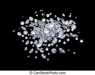 Diamonds on black surface - Diamonds on black surface made...