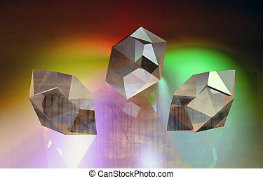 Diamonds on glowing transparent surface.