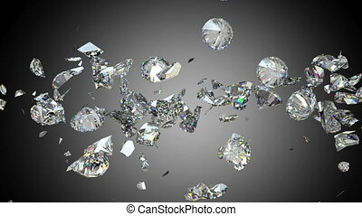 Diamonds or gems fall down shatter