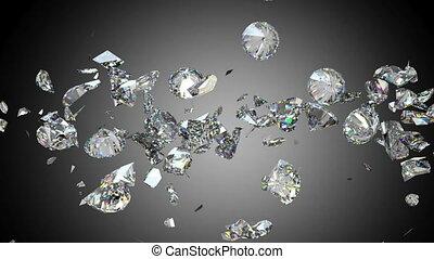 Diamonds or gems fall down shatter