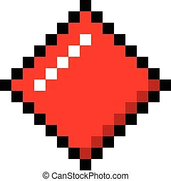 Diamonds pixel playing cards poker gambling cartoon retro game style