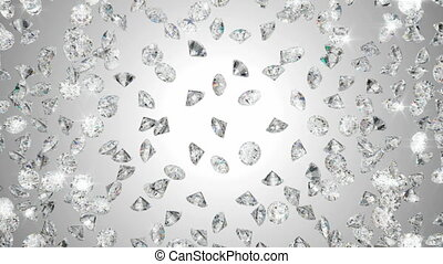 Diamonds scattering or flying away over studio light ...