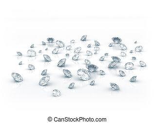 Diamonds on white shiny background