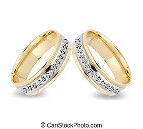 diamonds., vecteur, anneaux, or, mariage