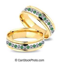 diamonds., vetorial, anéis, ouro, casório