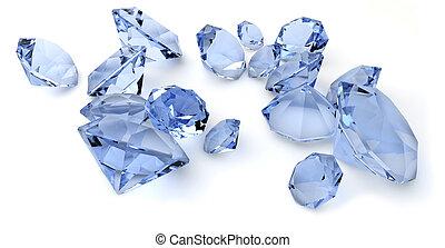 diamons - render of a group of blue diamonds