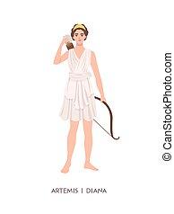 diana, -, aislado, deidad, caza, pantheon., joven, luna, ...