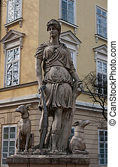 Diana statue - Stone statue of the goddess Diana in front of...
