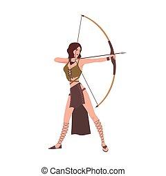 diana, vagy, aremisz, istennő, közül, üldöz, alapján, római, vagy, greek mitológia, elszigetelt, white, háttér., merész, gyönyörű woman, íjász, birtok, íj, és, célzás, vagy, shooting., lakás, karikatúra, vektor, illustration.