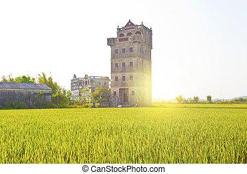 diaolou,  kaiping,  guangdong, Case, Cina, tramonto