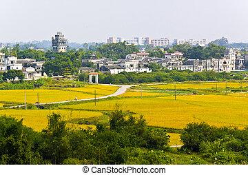 diaolou,  kaiping, intorno, mondo, luogo, rurale, eredità, Cina,  Unesco, paesaggio