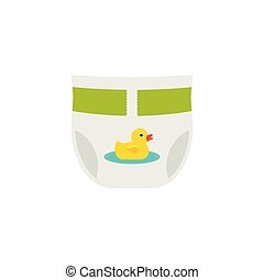 Diaper, nappy in flat design. Vector cartoon illustration. -...
