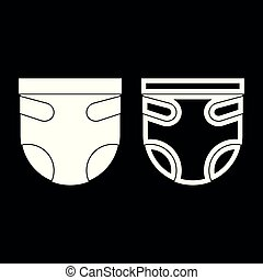 Diaper or nappy icon set white color illustration flat style...