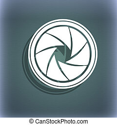 diaphragm icon. Aperture sign. On the blue-green abstract background with shadow and space for your text.