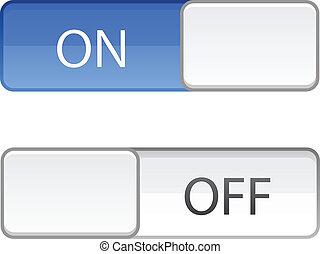 diapo, bouton, fermé, commutateur
