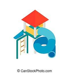 diapo, toit, coloré, cour de récréation