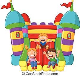 diapositiva, poco, niño, caricatura, juego