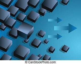 diapositiva, scatole, galleggiante, affari, grafico